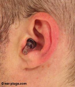 ear wearing  Etymotic ResearchETY Plugs, side view