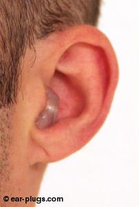ear wearing  Etymotic ResearchER25, side angle view