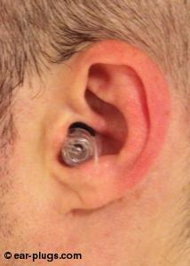 ear wearing  Etymotic ResearchER20XS, side view